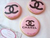Gadget 18 anni biscotto chic marca ragazza personalizzato regalo fine festa sweet table moda logo style 6,8cm