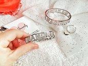 bracciale manetta con nome, bracciali manetta rigida personalizzabili con nome, festa della mamma, festa della donna, idee regalo, fatto a mano
