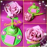 Penna Decorata a Forma di Rosa con Post-It