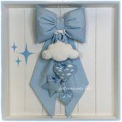 Fiocco nascita in piquet di cotone azzurro a piccoli pois con nuvoletta, stella e due cuori azzurri e bianchi