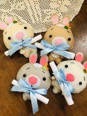 Coniglio in pannolenci invito Battesimo, compleanno o Nascita