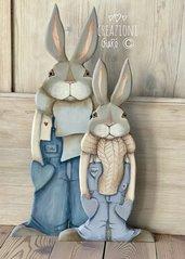 Conigli in legno massello by Creazioni GiaRó  Ⓒ