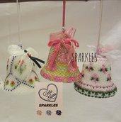 Campane diam. 7 decorate a mano con Perline - Idea Regalo per Pasqua