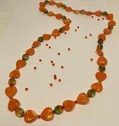 Collana lunga senza chiusura a Cuori Arancione e Verde