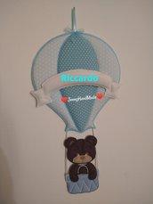 Fiocco nascita mongolfiera orsetto