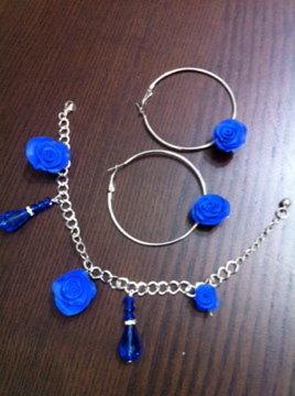 parure orecchini-bracciale blu