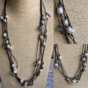 Collana Multifilo con Perle acqua dolce e Cristalli