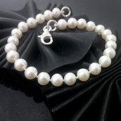 Bracciale da donna in argento 925 con perle fatto a mano B56