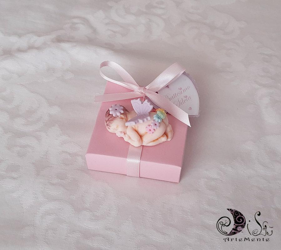 bomboniera bebè con scatolina portaconfetti rosa per bimba personalizzabile