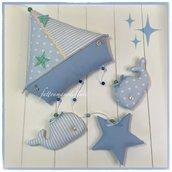 Fiocco nascita barca a vela in cotone azzurro e bianco con due balene e una stella