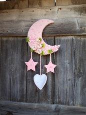 Fiocco nascita bimba con rose e perle