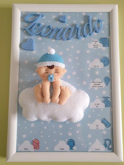 Quadro nascita bambino sulla nuvola