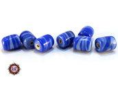 Lotto: 50 Perle Vetro - Cilindro: 11x9 mm - Colore: Blu  - Effetto marmorizzato
