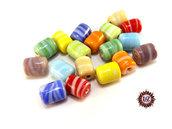 Lotto: 50 Perle Vetro - Cilindro: 11x9 mm - Colore: Mix  - Effetto marmorizzato