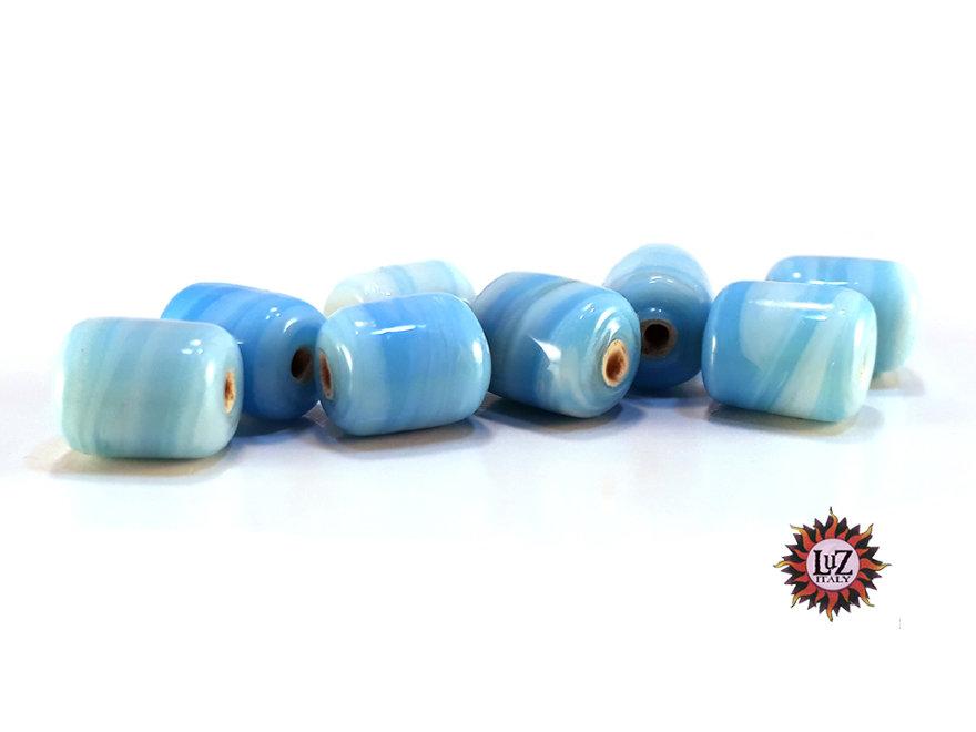 Lotto: 50 Perle Vetro - Cilindro: 11x9 mm - Colore: Turchese - Effetto marmorizzato