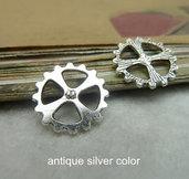 10 charms ruota ingranaggio 14mm argento antico