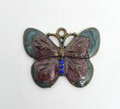 Pendente charm farfalla con smalti e strass