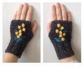 Mezzi guanti scaldapolsi Mimosa grigio uncinetto donna