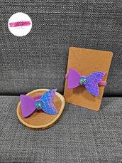 Coppia elastici per capelli con fiocco sirena e cabochon