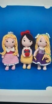 Bambole principesse Rapunzel, Biancaneve, Aurora