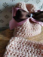 Sacchettino confetti cotone uncinetto rosa cipria, bomboniere, bomboniera, battesimo, comunione, cresima, matrimonio