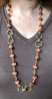 Collana donna , collana di pietre di quarzo marrone, collana porta fortuna, collana talismano, regalo per mamma. collana occhi di gatto
