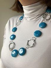 Collana donna argento e blu , collana di pietra Agata blue Sky, collana porta fortuna, regalo per mamma. collana pietra preziosa