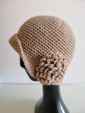 Cappello donna lana con fiore