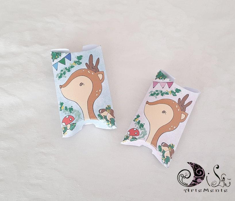 Scatoline portaconfetti animali del bosco cerbiatto pillow box personalizzabili
