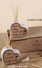 Profumatore cuore legno 6x6 con frasi incise in legno e polvere di marmo