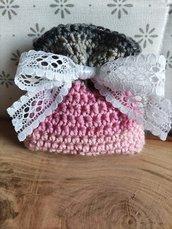Sacchettino confetti cotone uncinetto rosa cipria grigio, bomboniere, bomboniera, battesimo, comunione, cresima, matrimonio