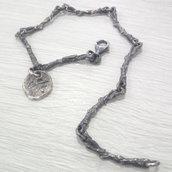 Bracciale in argento brunito 925 fatto a mano BB05