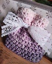 Sacchettino confetti cotone uncinetto lilla, rosa, panna, bomboniere, bomboniera, battesimo, comunione, cresima, matrimonio