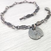 Bracciale in argento brunito 925 fatto a mano BB04