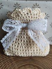 Sacchettino confetti cotone uncinetto ecru, beige, bomboniere, bomboniera, battesimo, comunione, cresima, matrimonio