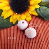 Perla in legno naturale con stampa cuore