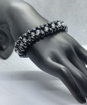 Elegante Braccialetto con perline in vetro colore nero ossidiana e bicono Crystal Ab