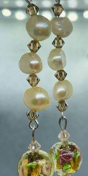 Orecchìni con perla vetro Murano Style fiore