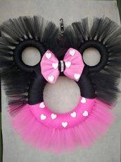 Ghirlanda Minnie tulle rosa e nero fatta a mano
