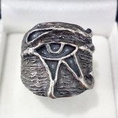Anello occhio di Ra/Horus/antico Egitto argento brunito 925 fatto a mano AB170