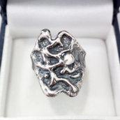 Anello in argento brunito 925 fatto a mano AB01