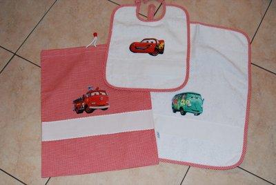 Set 3 pz Nido Materna - Cars rosso - da ricamare