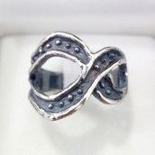"""Anello """"infinito"""" in argento brunito 925 fatto a mano AB174"""