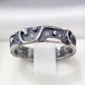 Anello fede/fedina in argento brunito 925 fatto a mano AB175