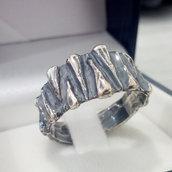 Anello in argento brunito 925 fatto a mano AB176