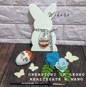 OFFERTA porta ovetto idea regalo bambino per pasqua a forma di coniglio in legno fatto a mano personalizzabile con nome
