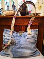 Borsa in jeans fiocco