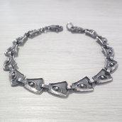 Bracciale in argento brunito 925 fatto a mano B15