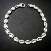 Bracciale in argento 925 con maglia alla marinara fatto a mano B40