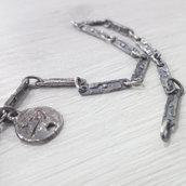 Bracciale in argento brunito 925 fatto a mano BB06